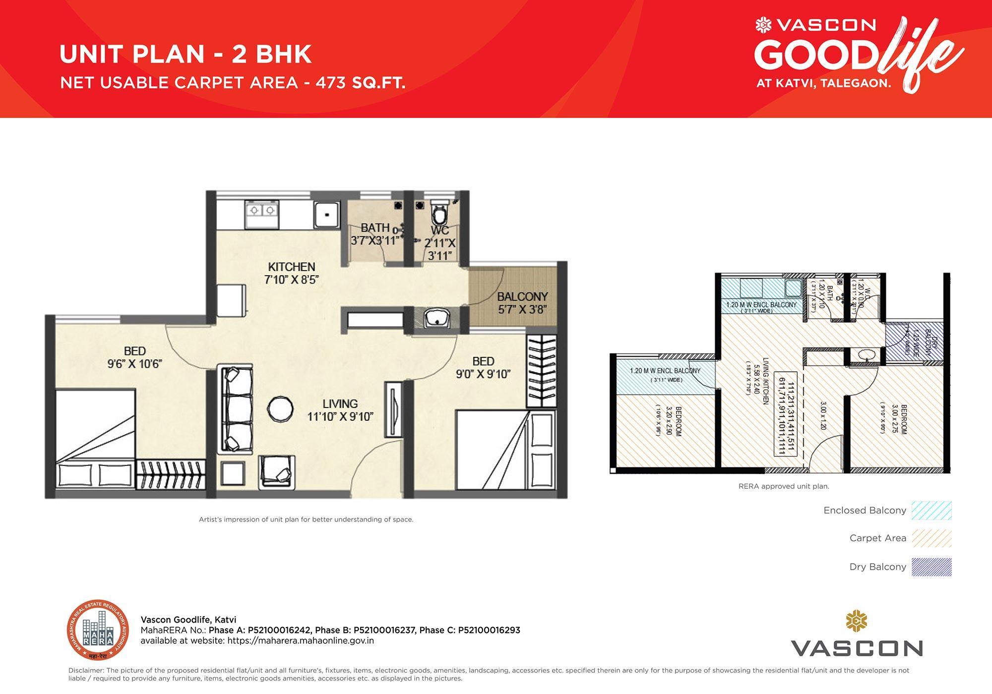 2 bhk- Unit Floor Plan for Vascon Goodlife